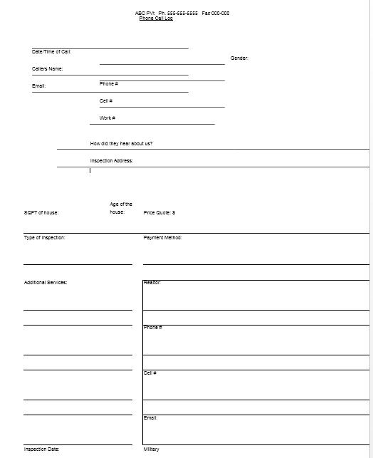call log template 18