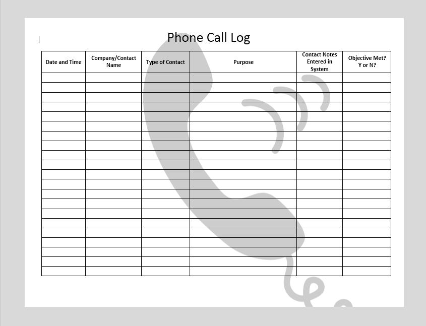 call log template 21