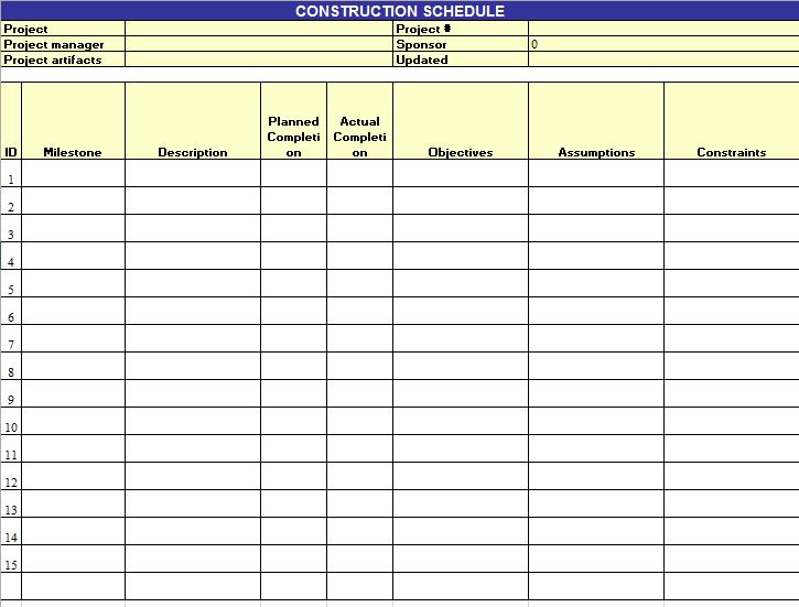 construction schedule template 14