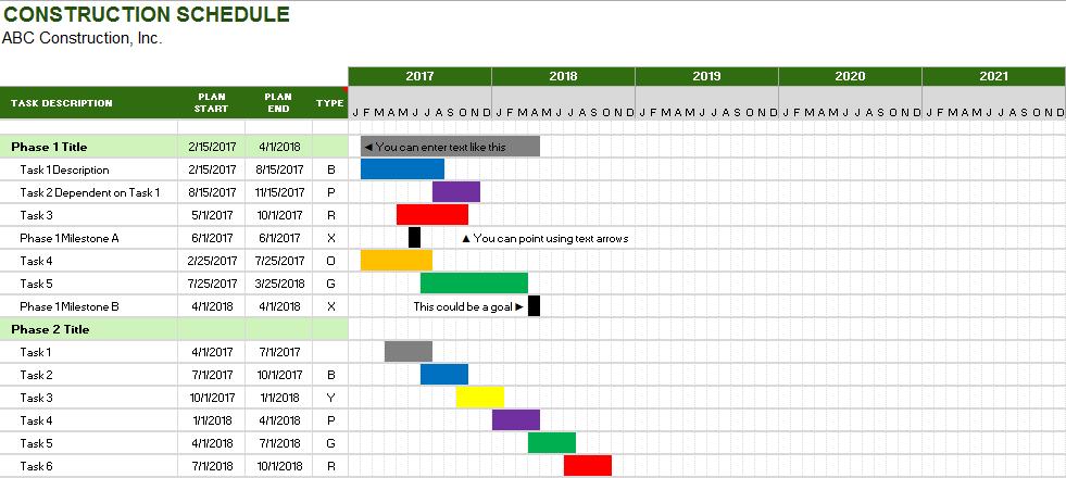 construction schedule template 17