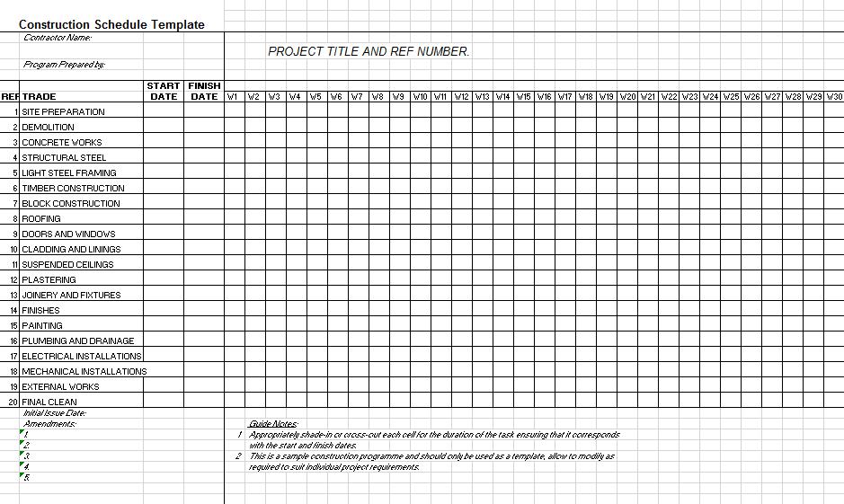 construction schedule template 18