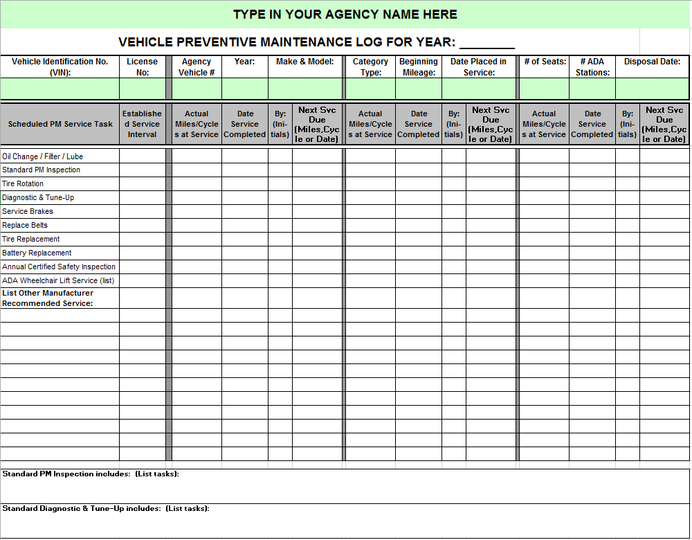 Vehicle Maintenance Log Template 04