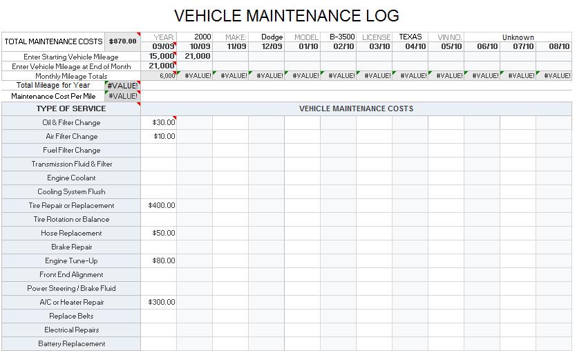 Vehicle Maintenance Log Template 06