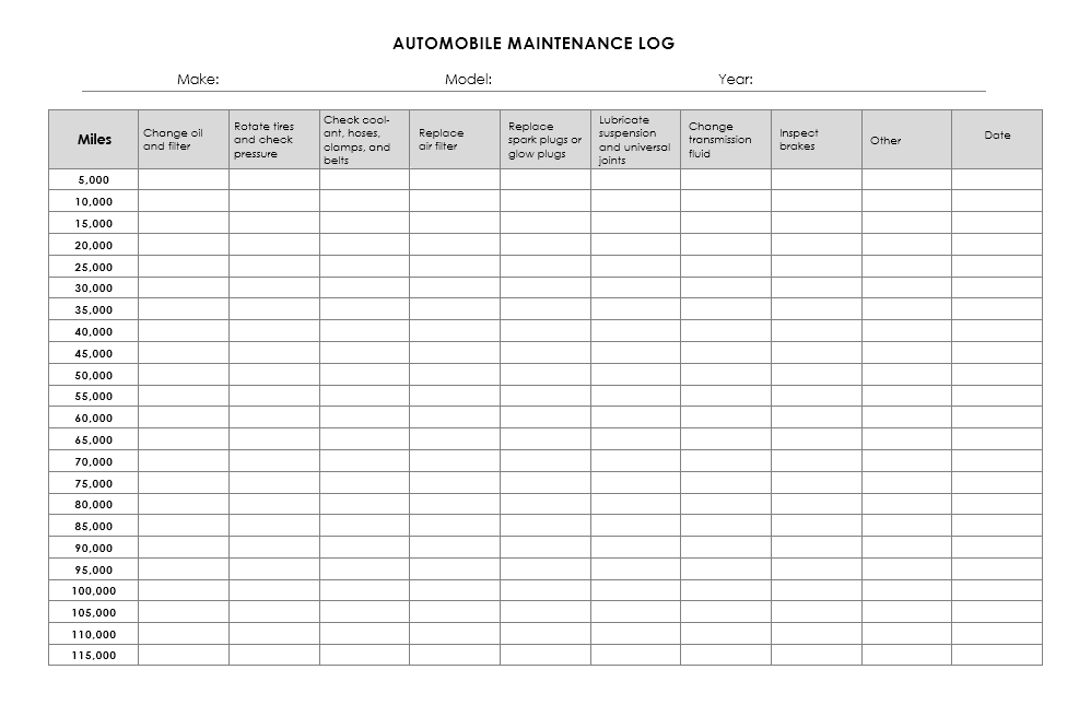 Vehicle Maintenance Log Template 17