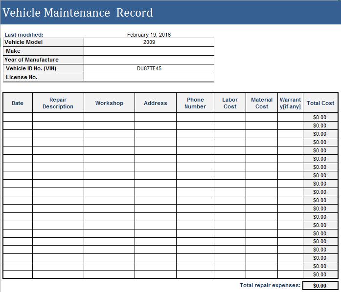 Vehicle Maintenance Log Template 18