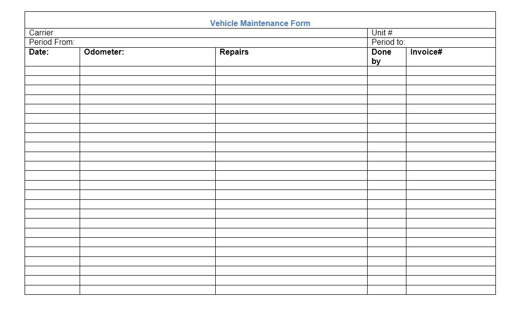 Vehicle Maintenance Log Template 19