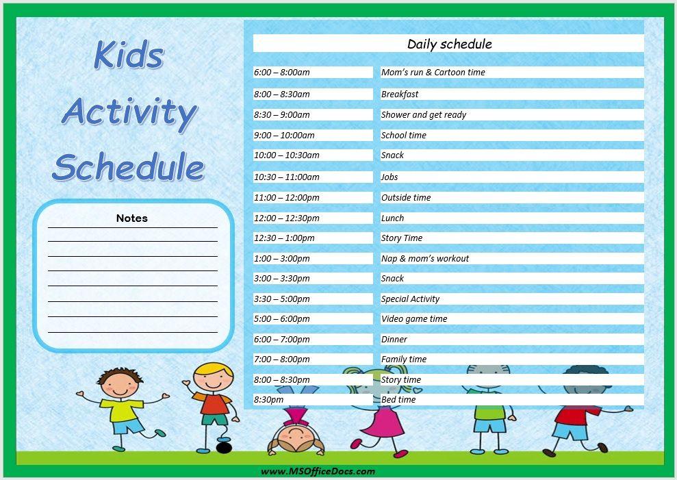Kids Activity Schedule Template 01