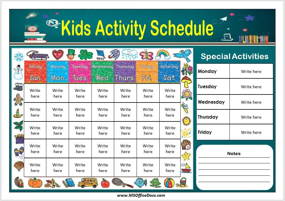 Kids Activity Schedule Template 02