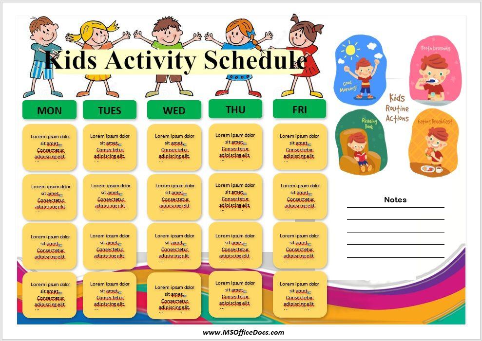 Kids Activity Schedule Template 03