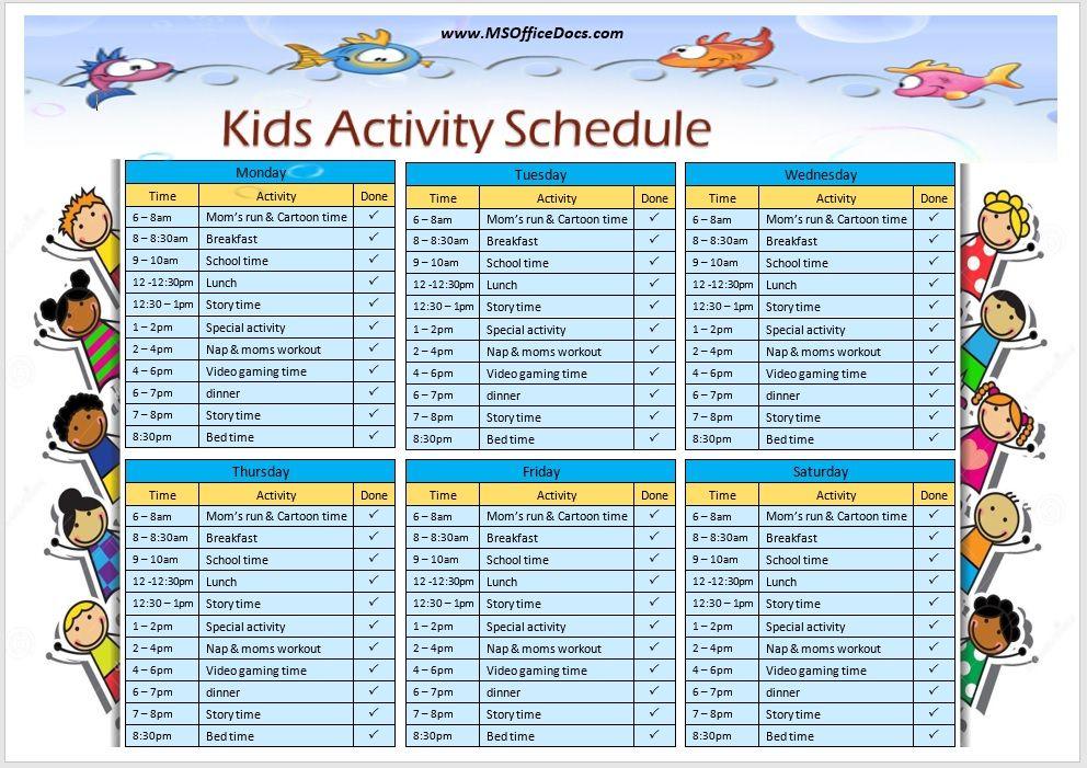 Kids Activity Schedule Template 04