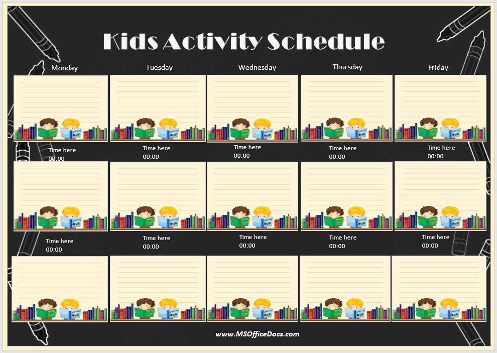 Kids Activity Schedule Template 05