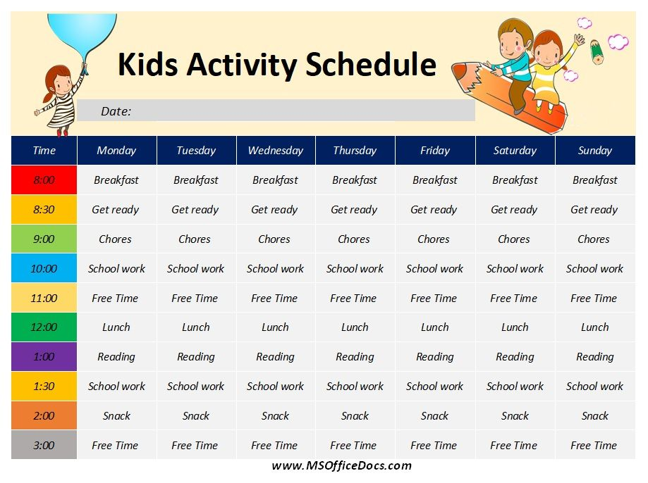 Kids Activity Schedule Template 06