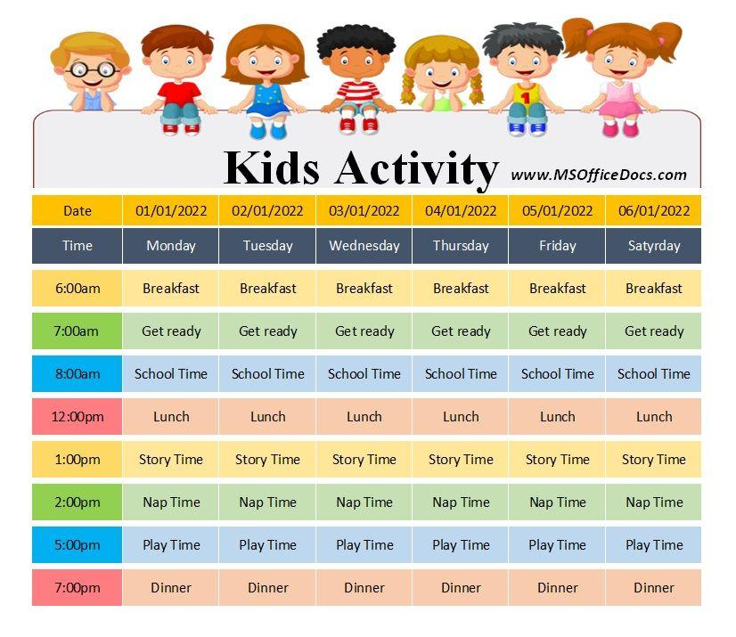 Kids Activity Schedule Template 07