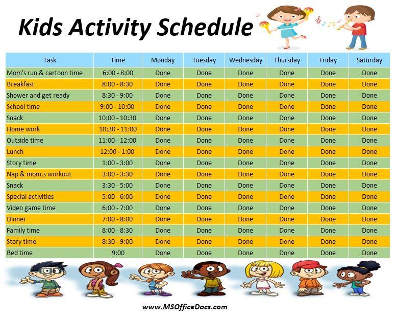 Kids Activity Schedule Template 08