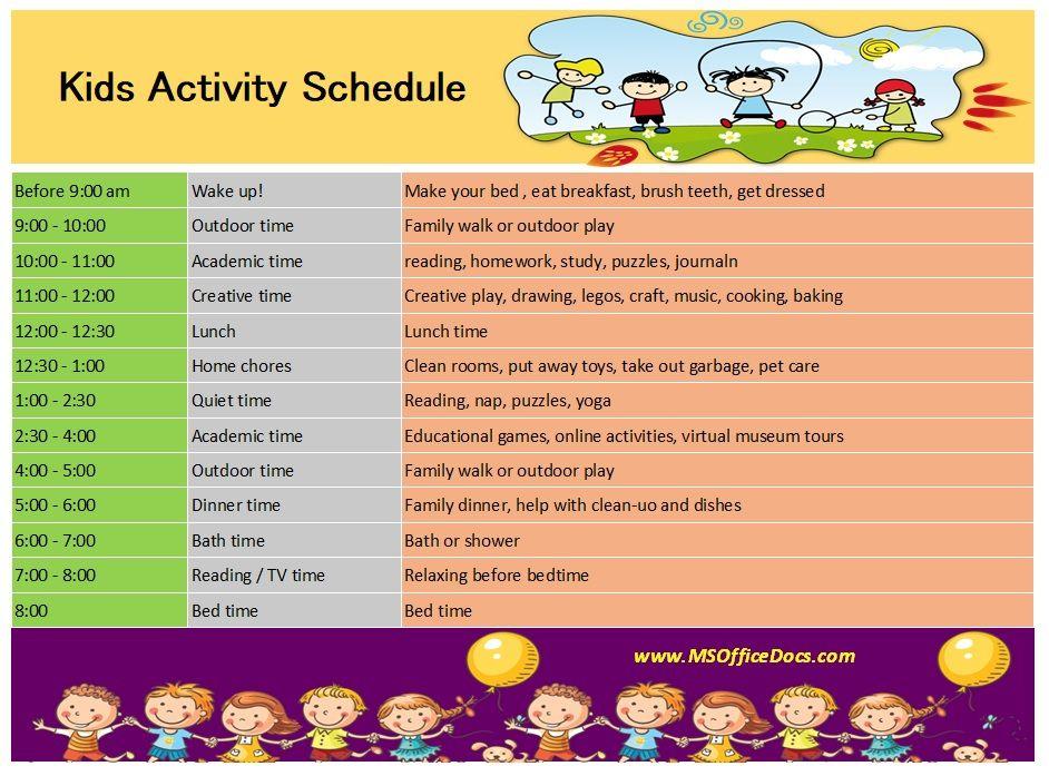 Kids Activity Schedule Template 09