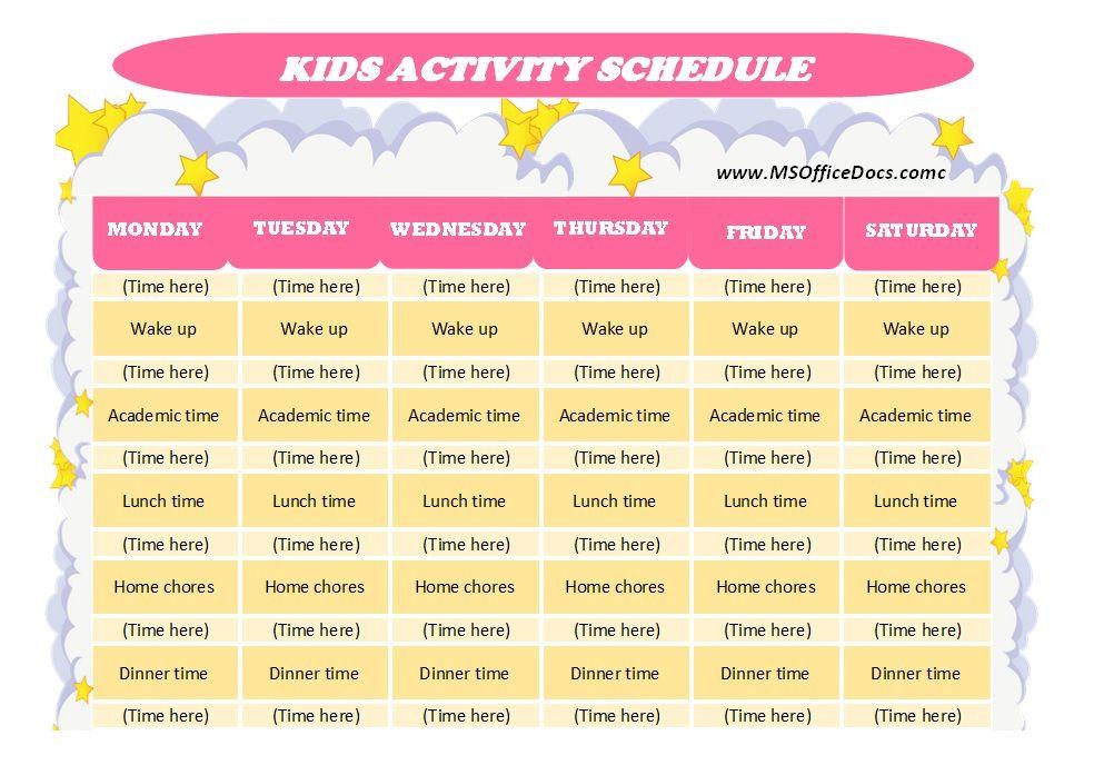 Kids Activity Schedule Template 10