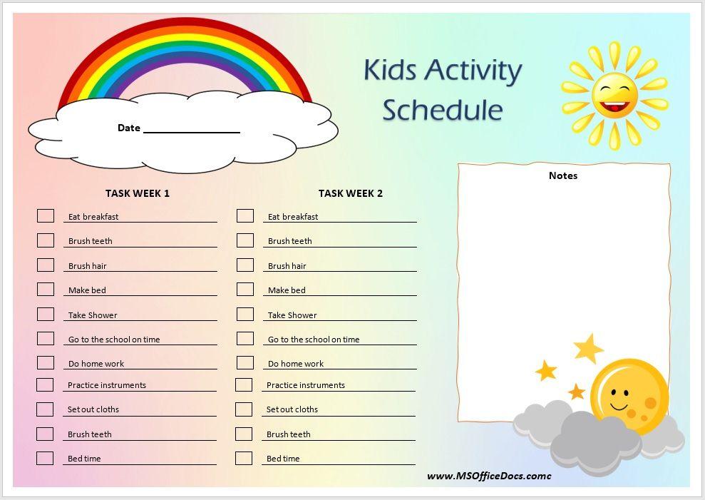 Kids Activity Schedule Template 11