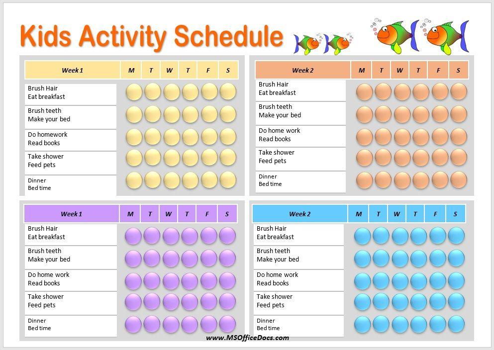 Kids Activity Schedule Template 12