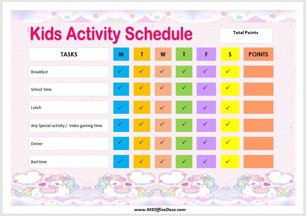 Kids Activity Schedule Template 13