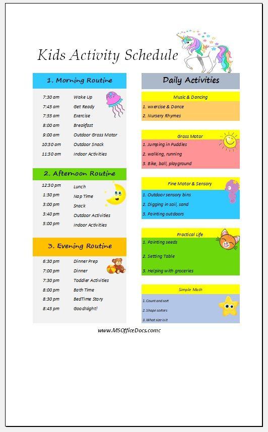 Kids Activity Schedule Template 14