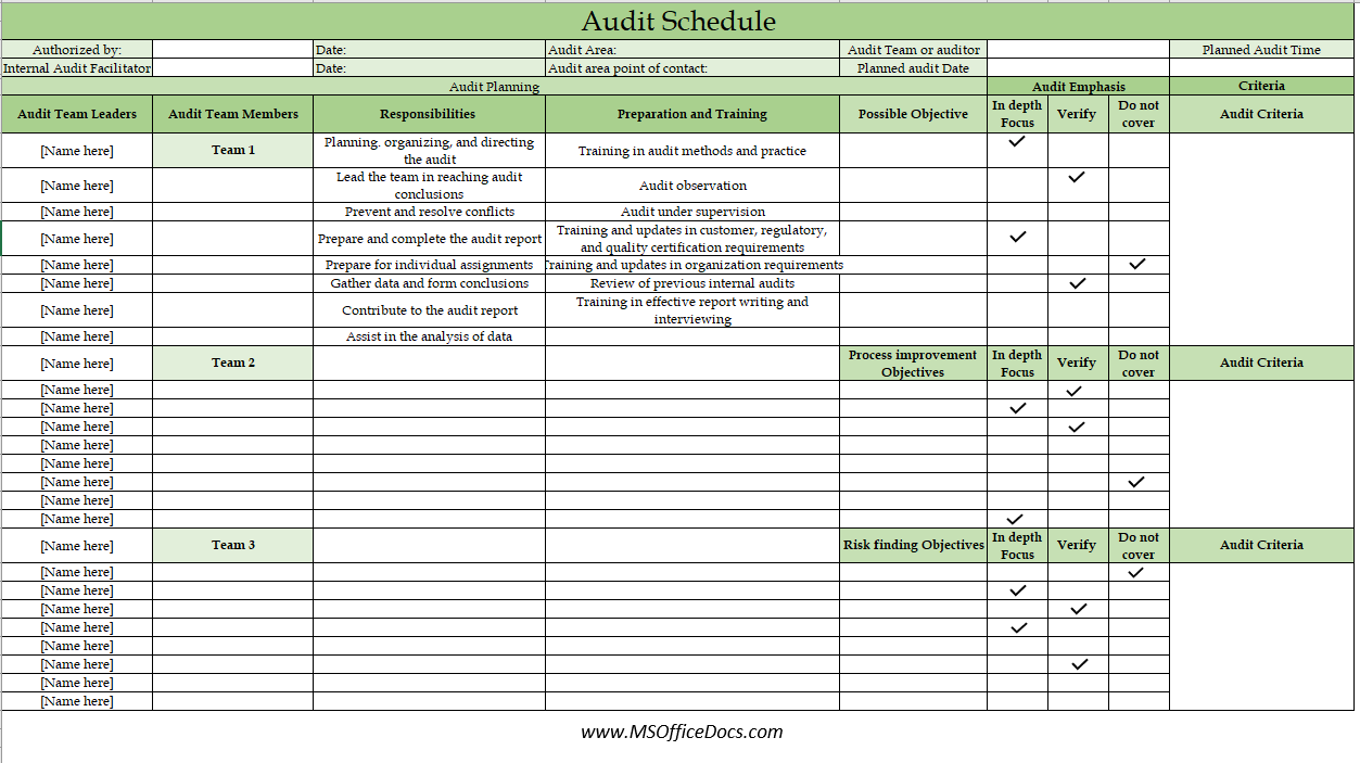 audit schedule template 03