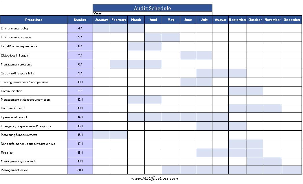 audit schedule template 04