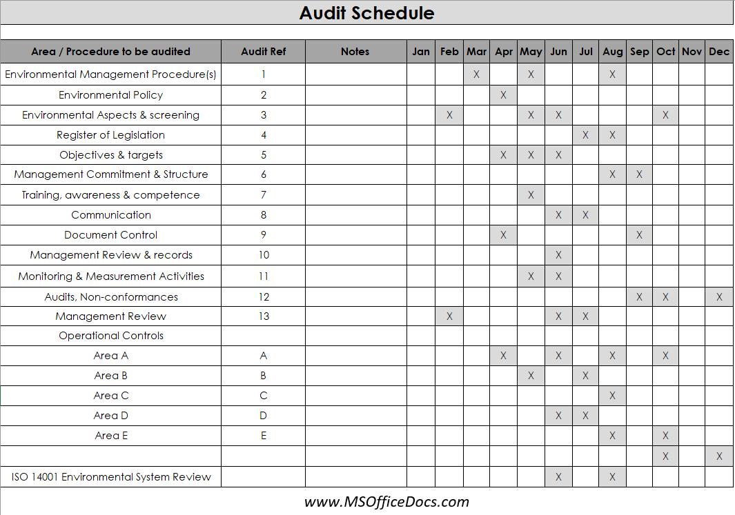 audit schedule template 08