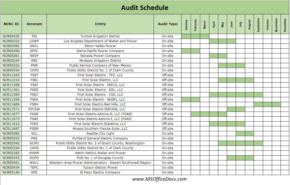 audit schedule template 10