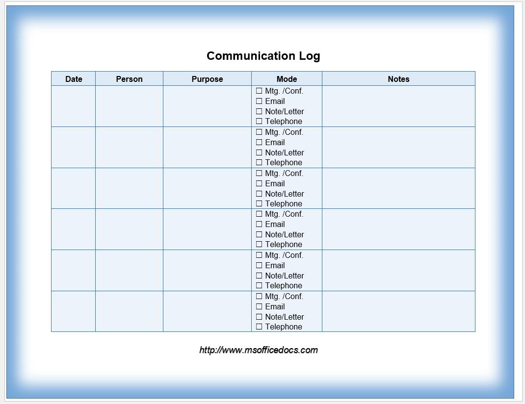 communication log template 04