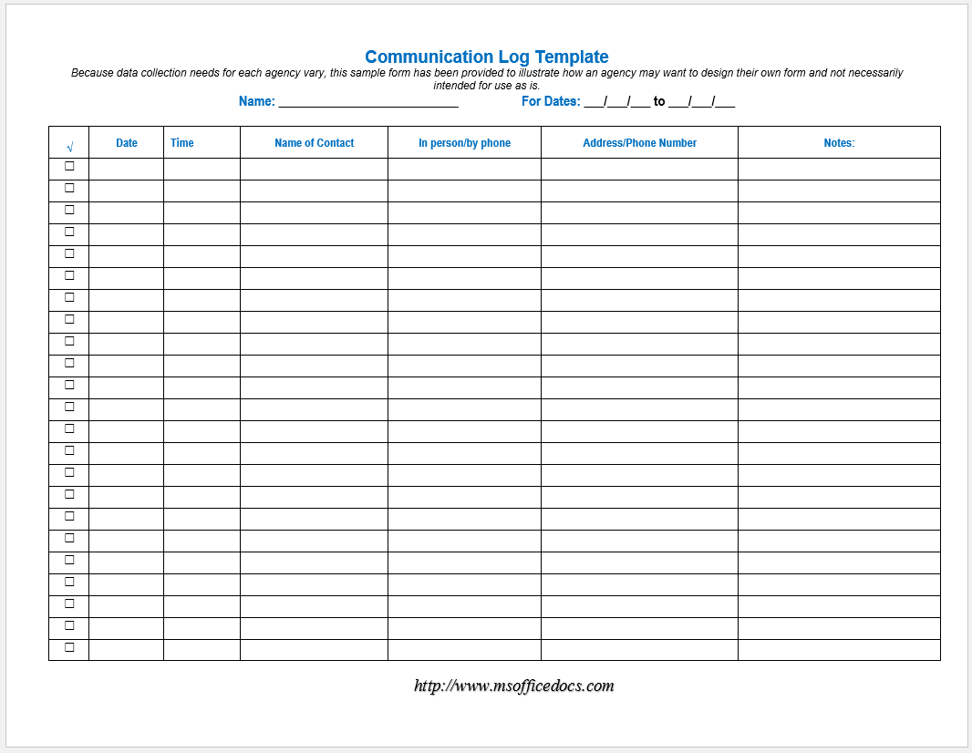 communication log template 09