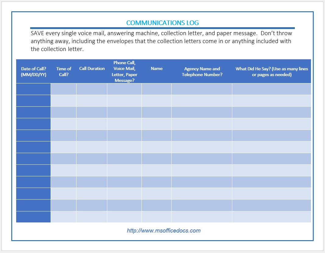 communication log template 10